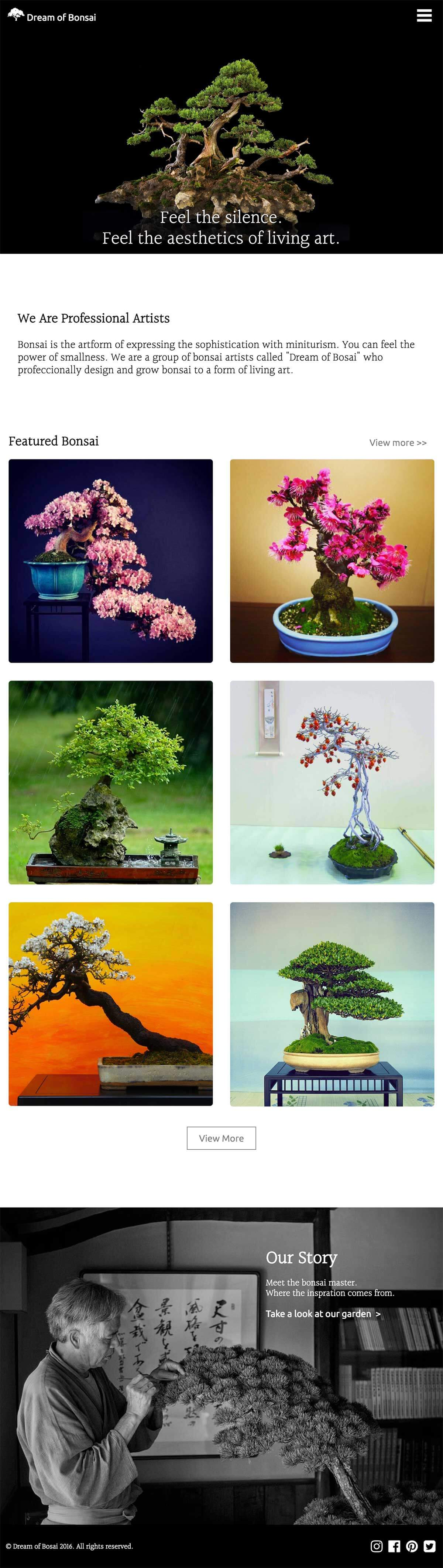 Dream of Bonsai webpage is shown as whole page with iPad portrait style