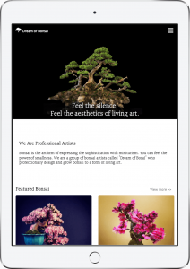 website of Dream of Bonsai is shown on iPad