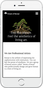 website of Dream of Bonsai is shown on iPhone