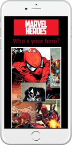 Marvel Heroes website is shown on iPhone
