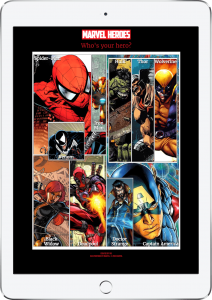 marvel heroes webisite is shown on iPad