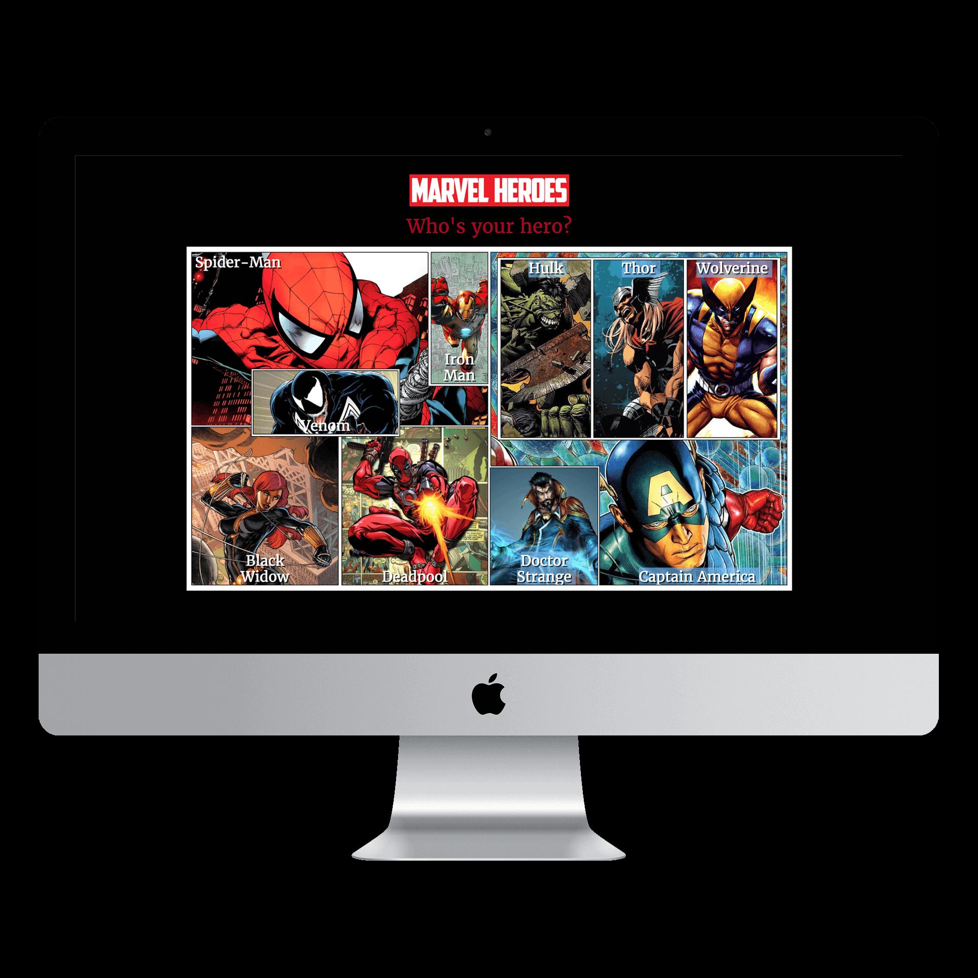marvel heroes website is shown on macbook