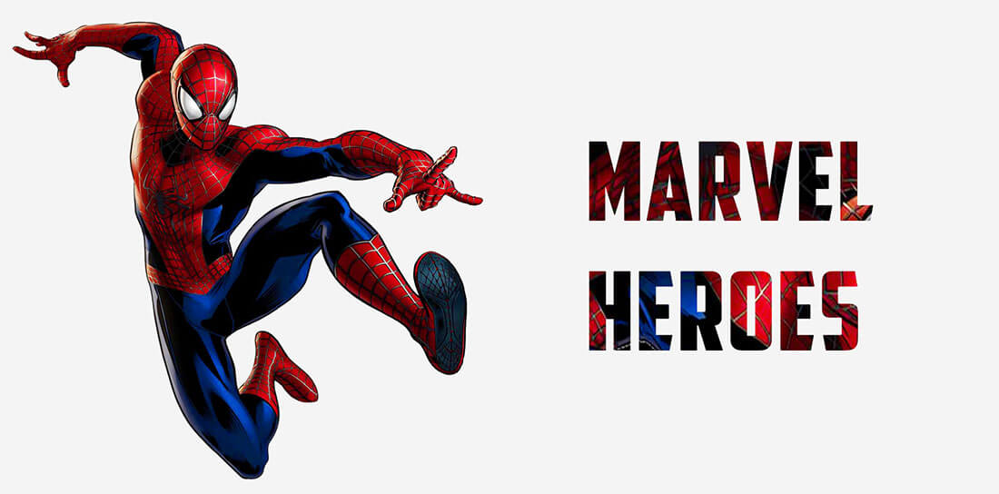 marvel heroes thumbnail showing Spiderman in the middle